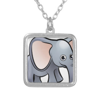 Elephant Safari Animals Cartoon Character Silver Plated Necklace