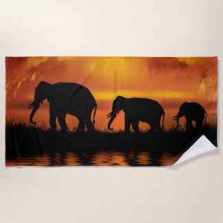 Elephant Safari Beach Towel