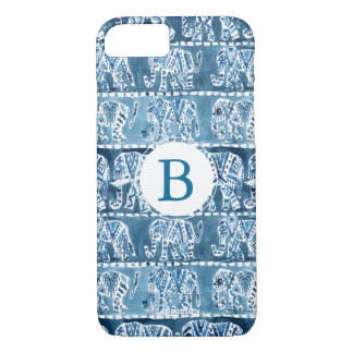 ELEPHANT SAFARI Boho Tribal Indigo Monogram iPhone 8/7 Case