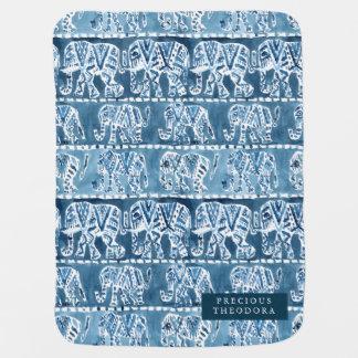 ELEPHANT SAFARI Boho Tribal Indigo Watercolor Stroller Blankets