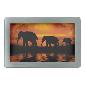 Elephant Safari Rect Belt Buckle