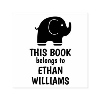 Elephant Self Inking Stamp This Book Belongs To