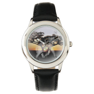 Elephant Shadow Dance Kids Leather Watch