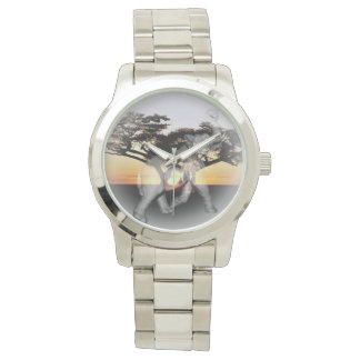 Elephant Shadow Dance Large Unisex Silver Watch