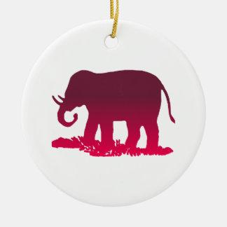 Elephant Shape Round Ceramic Ornament