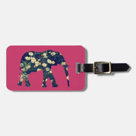 Elephant Silhouette Daisies Burgundy Girly Bag Tag