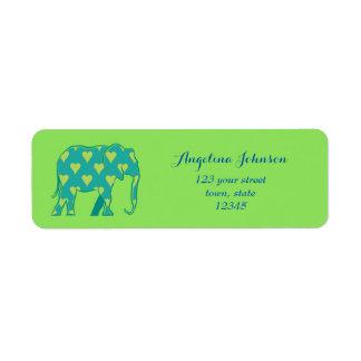 Elephant Silhouette Green Heart Pattern Stylish