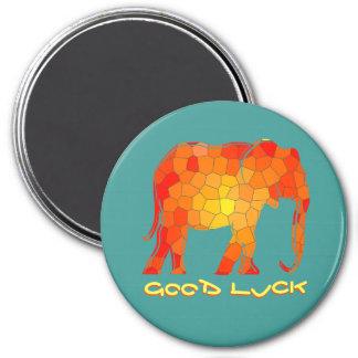 Elephant Silhouette Mosaic Orange Bright Vibrant Magnet