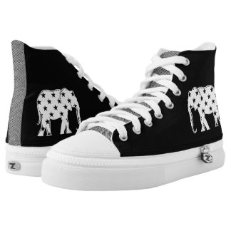 Elephant Silhouette Stylish Cool Modern Stars High Tops