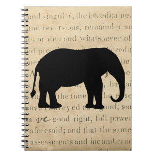 Elephant Silhouette Vintage 1860's Document Spiral Notebook