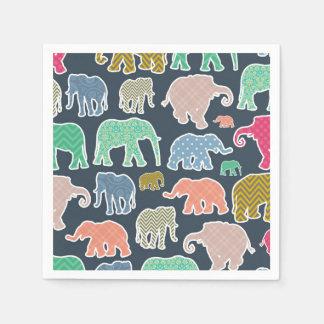Elephant Silhouettes, Polka Dots, Chevron, Gingham Paper Napkins