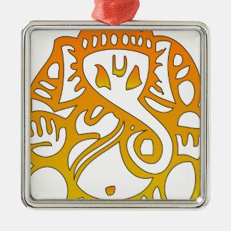 Elephant Silver-Colored Square Ornament