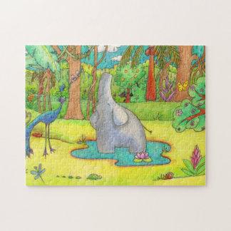 Elephant Singing in the Rain Cartoon Puzzle