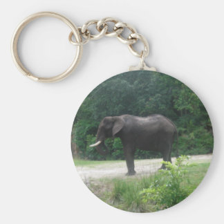 Elephant Standing Regally Basic Round Button Keychain