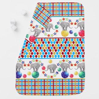 Elephant Stars Stripes Diamonds Circus Pattern Baby Blanket