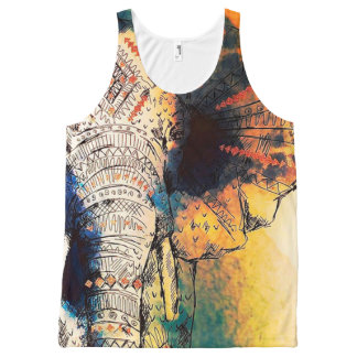 Elephant Sunrise All Over Printed Tank Top