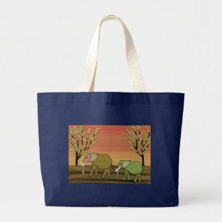 Elephant Sunset Canvas Bag