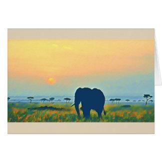 Elephant Sunset Card