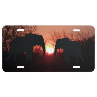 Elephant Sunset Silhouette Licence Plate License Plate