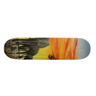 Elephant sunset skateboard deck