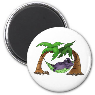Elephant taking the sun 2 inch round magnet