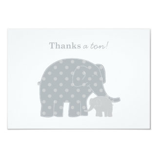"""Elephant Thank You Flat Notes   Silver and Gray 3.5"""" X 5"""" Invitation Card"""