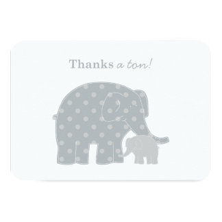 Elephant Thank You Flat Notes | Silver and Gray 3.5x5 Paper Invitation Card