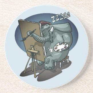 elephant the painter is sleeping funny cartoon coaster