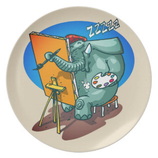 elephant the painter is sleeping funny cartoon plate