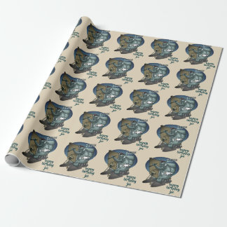 elephant the painter is sleeping funny cartoon wrapping paper