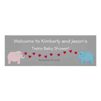 Elephant Theme Twin Boy & Girl Baby Shower Banner Poster