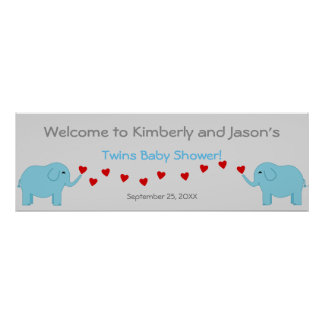 Elephant Theme Twin Boys Baby Shower Banner Poster
