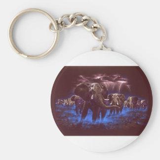 Elephant Thunder Basic Round Button Keychain