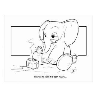 Elephant Toast Postcard