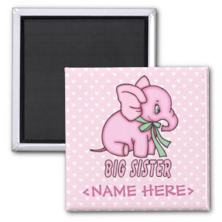 Elephant Toy Big Sister Square Magnet