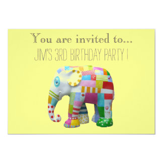"""Elephant toy infant or toddler birthday party 5"""" x 7"""" invitation card"""