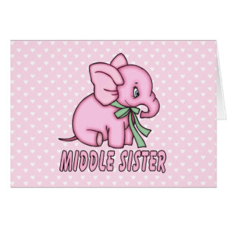 Elephant Toy Middle Sister Stationery Note Card