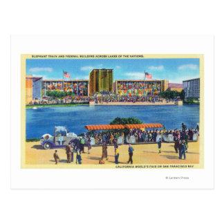 Elephant Train and Federal Bldg, CA Worlds Fair Postcard