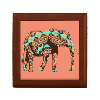 Elephant Tribal and Pop Fusion Watercolor Artwork Keepsake Boxes