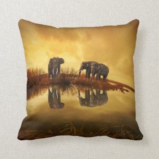 Elephant Trio Wildlife Throw Pillow