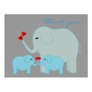 Elephant Twins in Blue Thank You Postcard