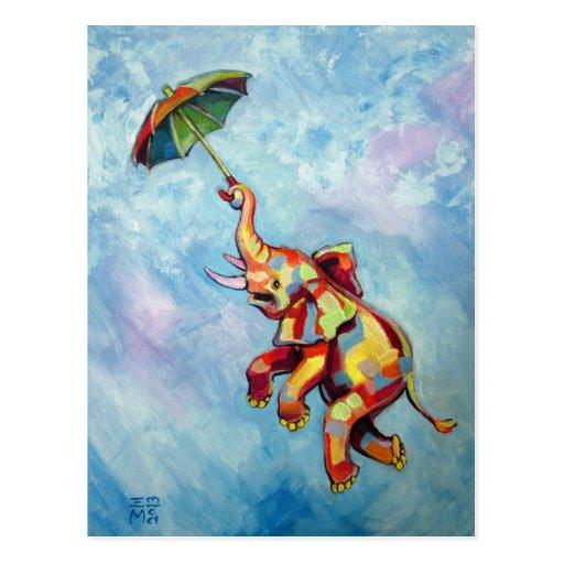 Elephant Umbrella Post Card
