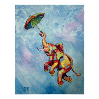 Elephant Umbrella Poster