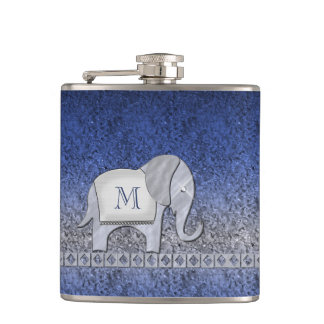 Elephant Walk Monogram Silver/Blue ID390 Hip Flask
