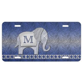 Elephant Walk Monogram Silver/Blue ID390 License Plate
