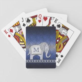 Elephant Walk Monogram Silver/Blue ID390 Playing Cards