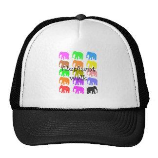 Elephant Walk---Multi colored elephants Trucker Hat