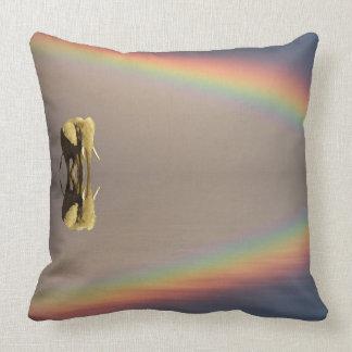 Elephant, water, and rainbow, Kenya Throw Pillow
