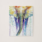Elephant watercolor art jigsaw puzzle