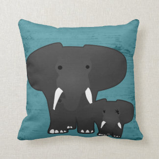 Elephant with a baby throw pillow